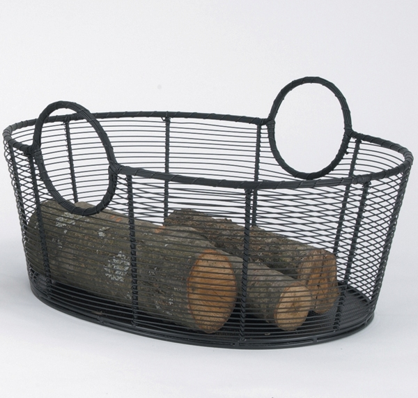 Hand Woven Wire Wood basket
