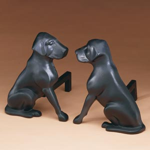 Black Lab Andirons provide dramatic silhouettes at any fireplace and are the best fireside companions you can imagine! Black Lab Dog Andirons are 11inches wide x 14inches high x 12inches deep